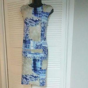 Chico's sz 0 (4) stretchy blue multi color dress